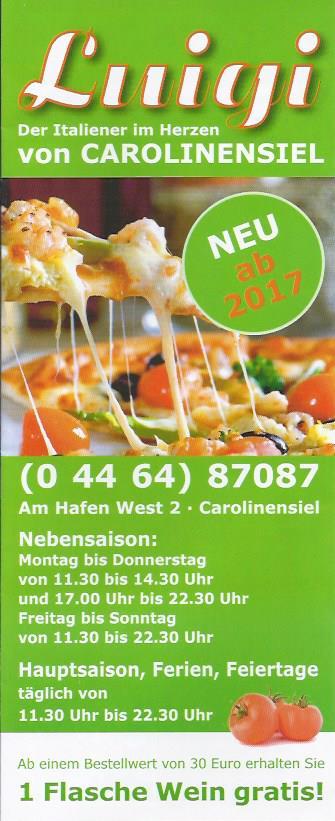 Flyer Pizzeria Luigi Carolinensiel